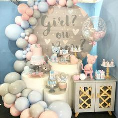 beautiful decoration set up in pastel blue and pink for gender reveal party Gender Reveal Party Decorations, Baby Gender Reveal Party, Gender Party, Birthday Party Decorations, Birthday Parties, Gender Reveal Themes, Baby Shower Parties, Baby Shower Themes, Baby Reveal Cakes