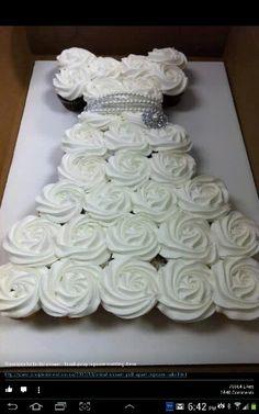 Cup cake wedding dress cake
