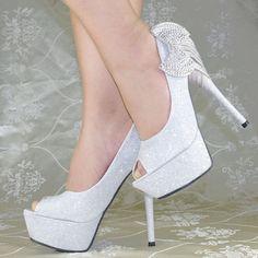 Silver Heels for Wedding | ... Silver Crystal Bows Platform High Heels Princess Wedding Bridal shoes