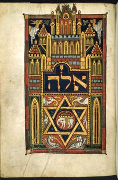 A page from a thirteenth-century German Pentateuch ('the Duke of Sussex's German Pentateuch') includes a Star of David, symbol of Judaism, at the start of Deuteronomy; (Additional 15282 f.238). (British Library)