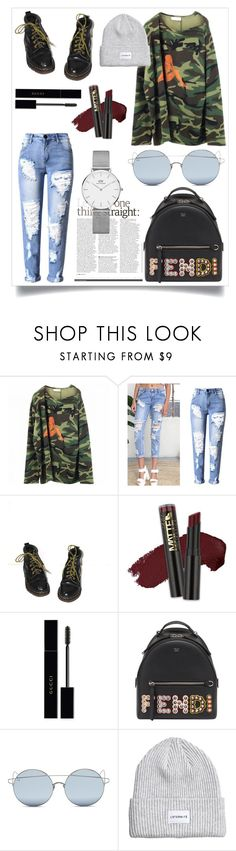 """""""//Mayla//"""" by tyradecember95 ❤ liked on Polyvore featuring Faith Connexion, Dr. Martens, L.A. Girl, Gucci, Fendi, For Art's Sake, Daniel Wellington, Boots, rippedjeans and fendi"""