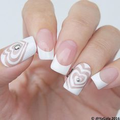 """Elegant manicure by the amazing @yagala using our I """"Heart"""" Swirls Nail Vinyls found at snailvinyls.com"""