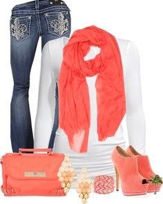"""Cute In Coral"" by cindycook10 ❤ liked on Polyvore"