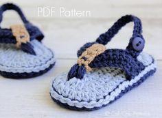 Crochet PATTERN 312 Malibu Baby flip flops por CaliChicPatterns