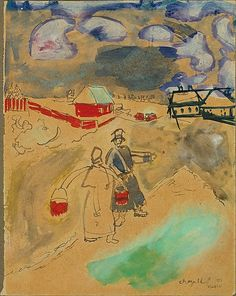 Marc Chagall (French, Vitebsk 1887–1985 Saint-Paul-de-Vence) Water Carrier and a Coachman