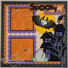 2 Premade Halloween Scrapbook Pages Haunted Train Ghost Baby Boy Girl Layout Paper Piecing Handmade 77 Halloween Train, Halloween Banner, Halloween Items, Halloween Cards, Fall Halloween, Haunted Halloween, Halloween Festival, Halloween House, Halloween Scrapbook