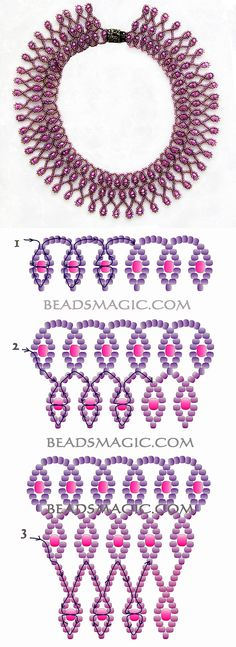 Free pattern for beaded necklace Violet Morning 11/0-6/0 kása gyöngy