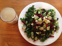 1oz Tuscan spinach 1oz mixed salad leaves  Fresh Basil/ parsley Beetroot Artichokes Sundried tomatoes  Fennel Black garlic Avocardo 1tbsp Olive oil 1tbsp Apple cider vinegar