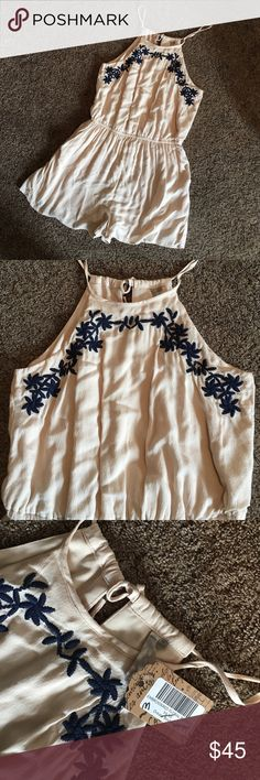 Cream with Blue Embroidered, Romper NWT, keyhole back romper! The Navy stitching on the front is adorable! It also has pockets!! Mona B Other