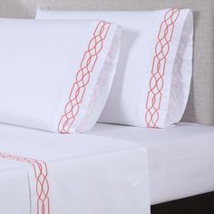 600 Thread Count Embroidered Sheet Set by Affluence Lattice White/Desert Rose, Size: King Organic Cotton Sheets, 100 Cotton Sheets, Cotton Sheet Sets, Bed Sheet Sets, Soft Bed Sheets, Satin Sheets, Satin Pillowcase, Queen Sheets, Bedding