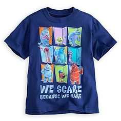 Disney Monsters, Inc. Tee for Boys | Disney StoreMonsters, Inc. Tee for Boys - The hard-working employees of Monsters, Inc. remind us ''We scare because we care'' on this funtime tee made from cool organic cotton.