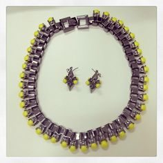 #Neon #yellow, matching necklace and earrings... from #Mawi!
