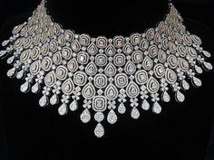 Square Shape Diamond Necklace by Ansh Gems Diamond Earrings Indian, Diamond Choker Necklace, Emerald Earrings, Diamond Bracelets, Diamond Pendant, Diamond Jewelry, Bangles, Necklace Designs, Fine Jewelry