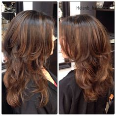 A balayage done with caramel & chocolate pops of color followed by a long layered textured hair cut.