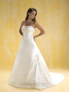 A-Line/Princess Strapless Chapel Train wedding dress for brides 2011 style(WDA0389) - A-Line Wedding Dresses - Wedding Dresses
