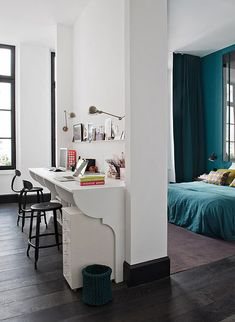 color, work space, office rooms, pari, bedrooms, desk areas, home offices, design, workspac