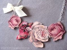 Victorian Shrinky Dink Necklace ~ the design was computer printed onto Shrink Plastic and cut out.