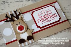 Reindeer Gift Voucher Wallet by Julie Kettlewell Independent Stampin Up Demonstrator. #giftcardholder #giftcardwallet #stampinup Reindeer Gift Voucher Wallet