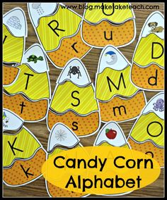 Fun little fall themed center activity for learning letters and sound.  Candy corn activities for rhyme and vocabulary too!