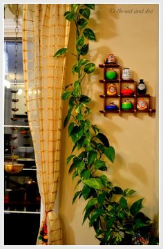 Indian home decor, indian wall decor, diy home decor, hanging lamps, living Ethnic Home Decor, Asian Home Decor, Diy Home Decor, Indian Home Interior, Indian Interiors, Green Shelves, Bedroom Art, Plant Decor, Living Room Decor