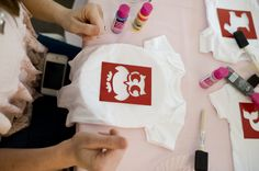 Cute Baby Shower-Activity Idea-Stenciling Onesies!