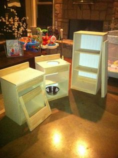 make your own play kitchen--probably more affordable then the ones at the store- and just as cute in the end