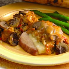 Pork Chops and Stuffing Bake using stuffing mix and pork gravy or brown gravy.