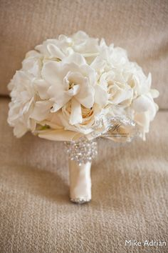 Beautiful white bridal bouquet ~ large gardenias with crystal bling brooch