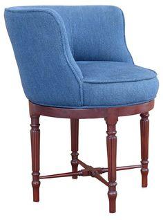 Kate Faux Fur Vanity Stool   Indigo, Vanity stool and Stools