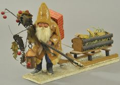 Germany, a most unusual woodcutter Santa with rabbit fur beard, red robe and blue pants, holds lantern and large holl. German Christmas Ornaments, Merry Christmas To All, Christmas Cards To Make, Antique Christmas, Christmas Wood, Father Christmas, Vintage Christmas Cards, Christmas Items, Country Christmas