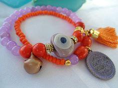 SALE GYPSY PRINCESS Bracelet Amulet BraceletTribal evil by Nezihe1, $18.00