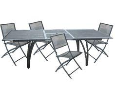 Table aluminium perforée avec rallonge 180/240 cm