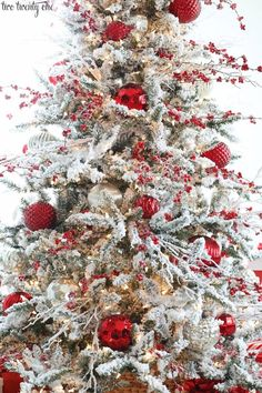 Flocked Christmas Tree - /cdn-cgi/l/email-protection excited. Today I'm sharing our 2018 flocked Christmas tr Christmas Tree Inspiration, Christmas Tree Design, Christmas Tree Themes, Rustic Christmas, Christmas Holidays, Christmas Wreaths, Christmas Crafts, Christmas Lights, Christmas Quotes