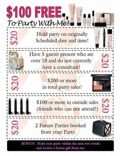 $100 FREE to party with me!! Whether it be an online/catalog/or party at your house, or mine...You can get the FULL benefits of a Mary Kay hostess & $100.00 worth of our Excellent Product absolutely FREE! Contact me by my email; onyourwaytobeautiful@gmail.com Come on...Let's Party!~Kimberly Robyn: