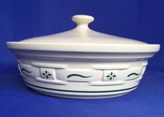 Longaberger Casserole Covered Dish 1 Quart Lid Woven Traditions Heritage Green  #Longaberger #Covered