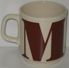 Vintage Initial Letter Monogram M Ironstone Coffee Mug Romania   eBay