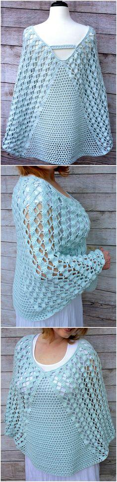 Whimsical Waves Poncho Crochet Scarves, Crochet Shawl, Crochet Clothes, Knit Crochet, Easy Crochet Patterns, Crochet Designs, Modern Crochet, Baby Girl Crochet, Crochet Accessories