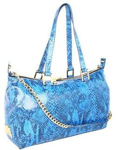 NWT Juicy Couture Authentic Silvia Snake Embossed Leather Satchel Bag Blue