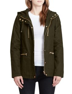 LE3NO Womens Fully Quilted Lined Anorak Hoodie Jacket with Pockets (Black, Olive, Navy) - $40