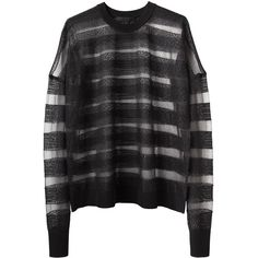 Alexander Wang Snakeskin Stripe Pullover ($695) ❤ liked on Polyvore