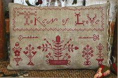 book art with stitching | Primitive Folk Art Cross Stitch Pattern: TOKEN OF LOVE -- Redwork ...