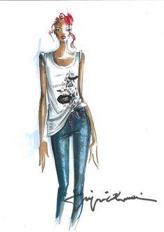 slouchy t shirt illustration Fashion Illustration Sketches, Illustration Mode, Fashion Sketches, Fashion Drawings, Art Illustrations, Paper Fashion, Fashion Art, Fashion Models, Fashion Design