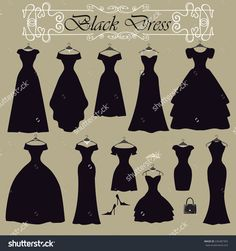 Black party dress in Different styles .Silhouette of dresses in modern flat