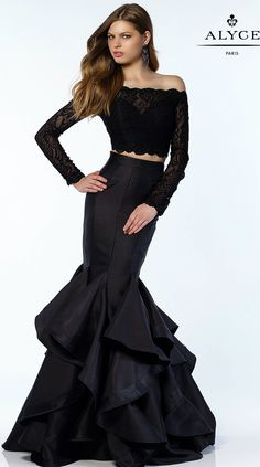 Prom Dresses Evening Dresses by ALYCE PARIS<BR>aay6754<BR>Two piece mermaid gown with a ruffled skirt, laced long sleeve crop top and small keyhole back.