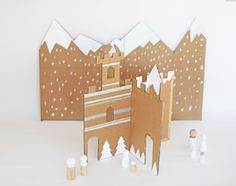 MAKE AN EASY WINTER CARDBOARD CASTLE from the hello, Wonderful blog