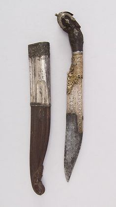 Knife (Piha Kaetta) with Sheath. Date: 18th–19th century. Culture: Sri Lankan. Medium: Wood, silver, brass, steel.