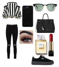 """No name"" by martialartsqueen ❤ liked on Polyvore featuring Ray-Ban, Milly, Boohoo, Puma, Yves Saint Laurent and Lancôme"