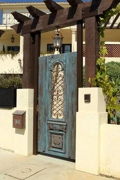 Mediterranean Home Design Ideas, Pictures, Remodel and Decor Garden Doors, Garden Gates, Porches, Door Design, House Design, Front Gates, Front Fence, Spanish Style Homes, Mediterranean Decor