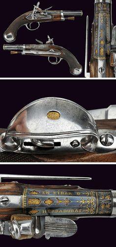 A beautiful pair of flintlock pistols by Alberdi, dating: circa 1800 provenance: Spain