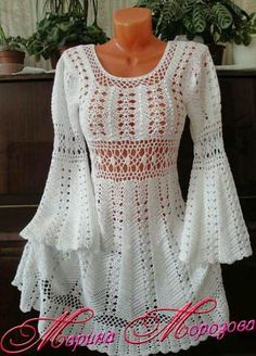 Crocheted Medieval Long Sleeve Top - MADE to ORDER free shipping in USA by HeirloomsbyAntonia on Etsy